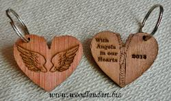 zipper heart wooden key chains laser cut and engraved