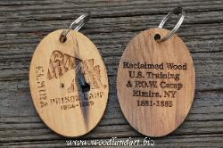 Elmira Civil War Prison Camp Custom key chain made from reclaimed wood