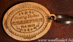 Poetry Rodeo wooden key chains laser cut and laser engraved