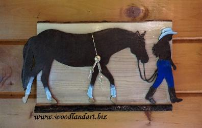 horse and cowgirl custom clock, laser cut wood, hand painted