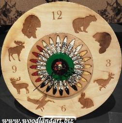 Game animals laser engraved unique native american clock