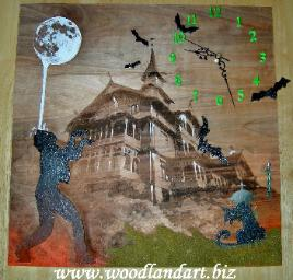 one of a kind Halloween laser engraved hand painted wooden clock zombie haunted house