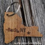 wooden key chain laser cut in the shape of the state of NY with Bath NY highlighted