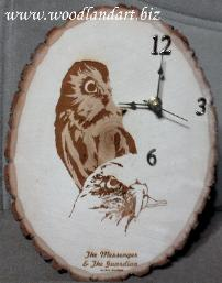 Owl and Eagle laser engraved unique wooden clock
