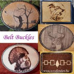 Custom Belt Buckles Oval and Rectangle Laser Engraved Leather and Wood Native and Outdoor Themes