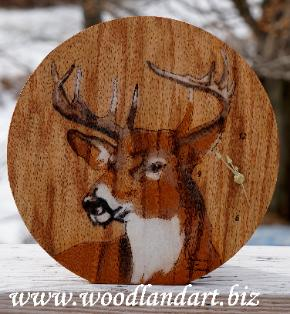 Whitetail Deer Buck clock, laser engraved, hand painted, one of a kind